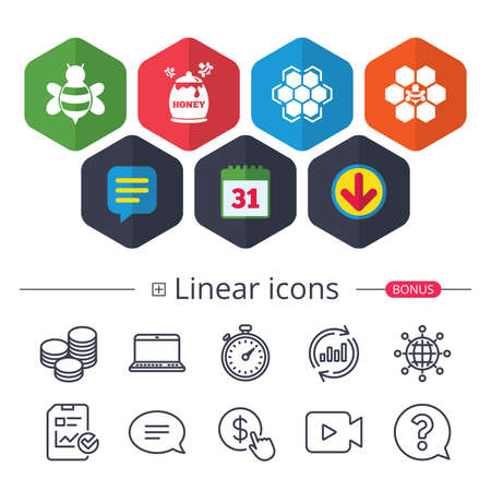 Calendar, Speech bubble and Download signs. Honey icon. Honeycomb cells with bees symbol. Sweet natural food signs. Chat, Report graph line icons. More linear signs. Editable stroke. Vector Stock Vector - 90512702