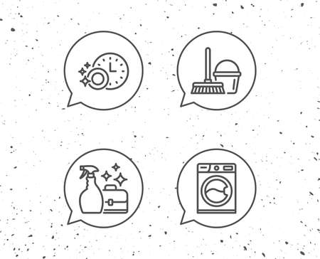 Speech bubbles with signs. Cleaning, Washing machine and Housekeeping service line icons. Laundry, Mop and Maid equipment signs. Bucket and Dishwasher timer symbols. Grunge background. Editable stroke