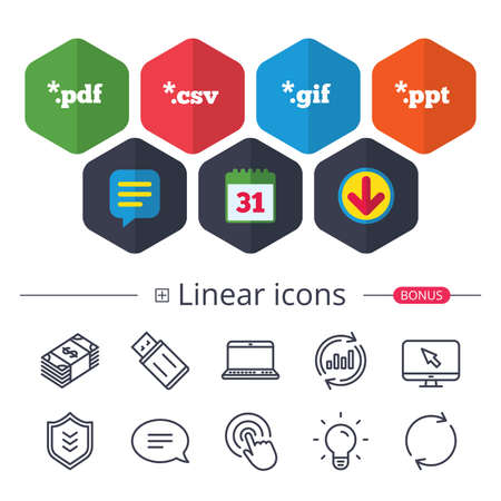 Calendar, Speech bubble and Download signs. Document icons. File extensions symbols. PDF, GIF, CSV and PPT presentation signs. Chat, Report graph line icons. More linear signs. Editable stroke. Vector