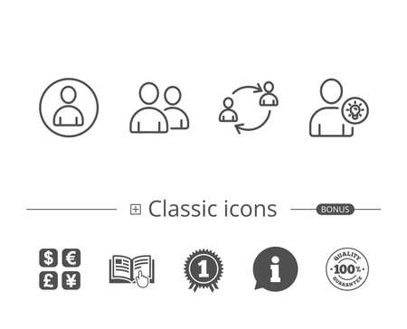 User Group, Profile and Teamwork line icons. Businessman with idea symbols. Information speech bubble sign. And more signs. Editable stroke. Vector Çizim
