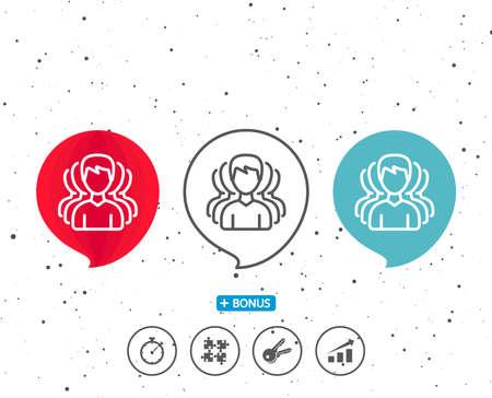 연설 거품 기호입니다. 남자 라인 아이콘의 그룹입니다. 인간의 의사 소통 기호입니다. 팀웍 기호입니다. 다른 고전적인 표시가있는 보너스. 무작위 서