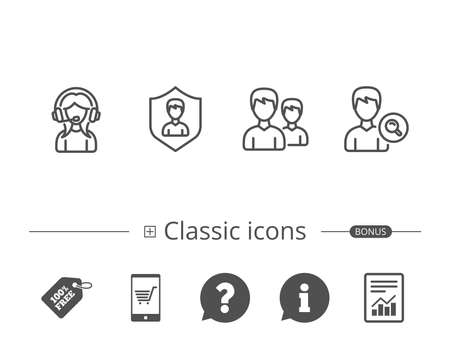 Female Support, Group and Search Profile line icons. User protection sign. Information speech bubble sign. And more signs. Editable stroke. Vector