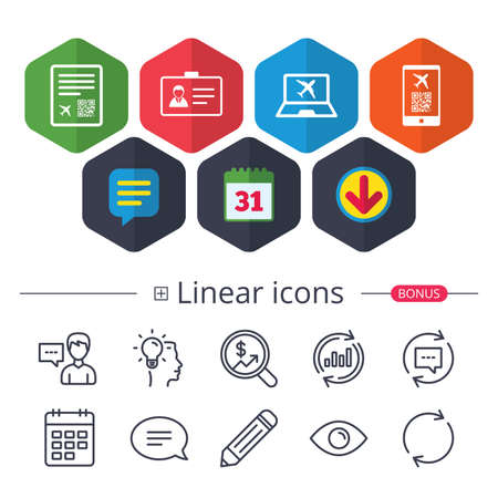 Calendar, Speech bubble and Download signs. QR scan code in smartphone icon. Boarding pass flight sign. Identity ID card badge symbol. Chat, Report graph line icons. More linear signs. Editable stroke