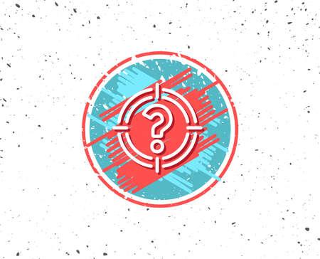 Grunge knop met symbool. Doel met het pictogram van de vraagtekenlijn. Richt symbool. Help of FAQ-teken. Willekeurige achtergrond. Vector Stockfoto - 90512826
