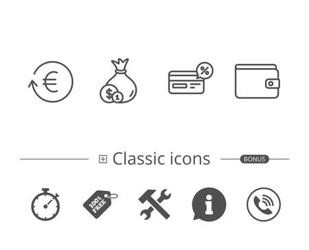 Money, Cashback and Wallet line icons. Credit card, Currency exchange and Coins signs. Banking, Euro and Dollar symbols. Information speech bubble sign. And more signs. Editable stroke. Vector