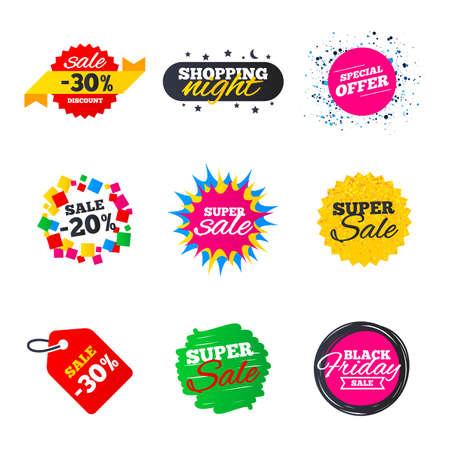 Verkoop banners sjablonen. Beste aanbiedingen, kortingslabels. Marktfolders of speciale aanbiedingen. Winkelende sterren en linten. Vector
