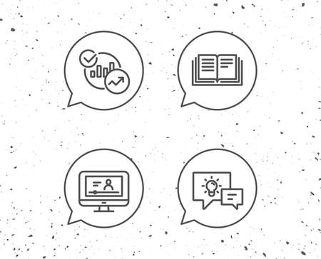 Speech bubbles with signs. Book, Charts and Video tutorial line icons. Communication speech bubbles, Instruction and Internet Lectures signs. Grunge background. Editable stroke. Vector