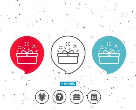 연설 거품 기호입니다. 선물 상자 아이콘입니다. 현재 또는 판매 사인. 생일 쇼핑 기호입니다. 선물 포장에있는 포장. 다른 고전적인 표시가있는 보너 일러스트