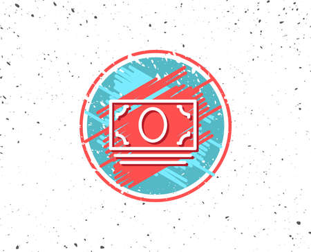 Grunge button with symbol. Cash money line icon. Banking currency sign. ATM service symbol. Random background. Vector