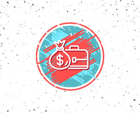 Grunge button with symbol. Business case line icon. Portfolio and Salary symbol. Diplomat with Money bag sign. Random background. Vector Illustration