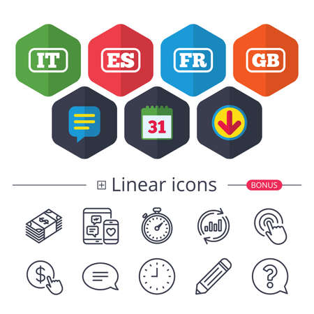 Calendar, Speech bubble and Download signs. Language icons. IT, ES, FR and GB translation symbols. Italy, Spain, France and England languages. Chat, Report graph line icons. More linear signs. Vector