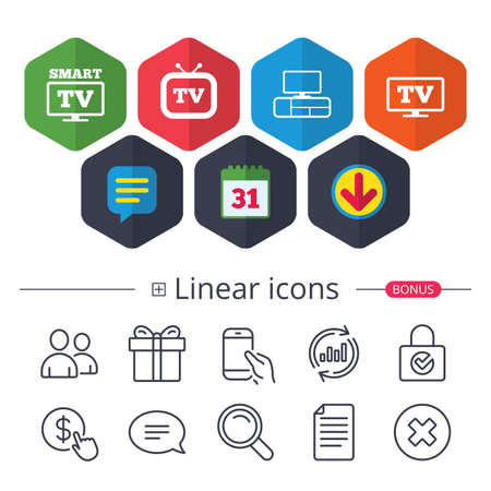 Calendar, Speech bubble and Download signs. Smart TV mode icon. Widescreen symbol. Retro television and TV table signs. Chat, Report graph line icons. More linear signs. Editable stroke. Vector Illustration