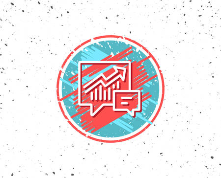 Grunge button with symbol. Chart line icon. Report graph or Sales growth sign in speech bubble. Analysis and Statistics data symbol. Random background. Vector 向量圖像