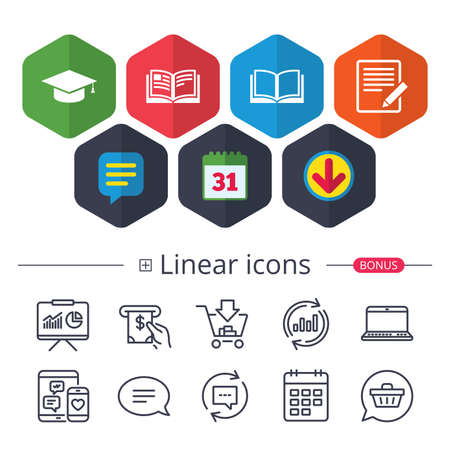 Calendar, Speech bubble and Download signs. Pencil with document and open book icons. Graduation cap symbol. Higher education learn signs. Chat, Report graph line icons. More linear signs. Vector