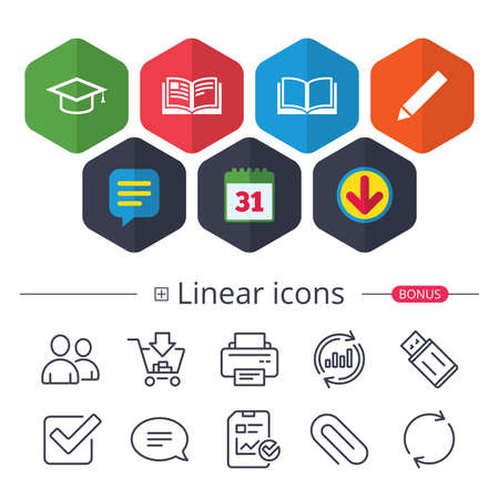 Calendar, Speech bubble and Download signs. Pencil and open book icons. Graduation cap symbol. Higher education learn signs. Chat, Report graph line icons. More linear signs. Editable stroke. Vector