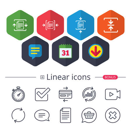 Calendar, Speech bubble and Download signs. Archive file icons. Compressed zipped document signs. Data compression symbols. Chat, Report graph line icons. More linear signs. Editable stroke. Vector