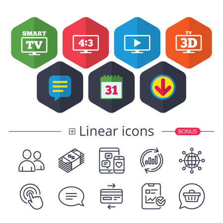 Calendar, Speech bubble and Download signs. Smart TV mode icon. Aspect ratio 4:3 widescreen symbol. 3D Television sign. Chat, Report graph line icons. More linear signs. Editable stroke. Vector Illustration