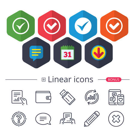 Calendar, Speech bubble and Download signs. Check icons. Checkbox confirm circle sign symbols. Chat, Report graph line icons. More linear signs. Editable stroke. Vector Illustration