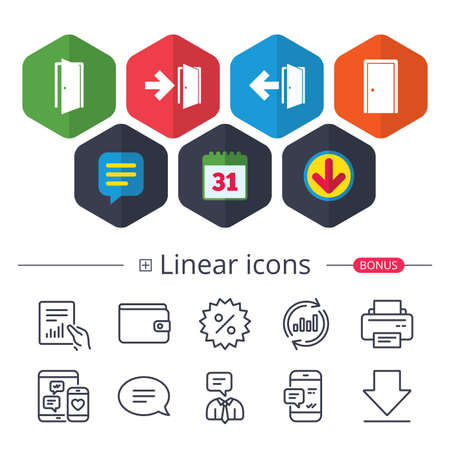 Calendar, Speech bubble and Download signs. Doors icons. Emergency exit with arrow symbols. Fire exit signs. Chat, Report graph line icons. More linear signs. Editable stroke. Vector
