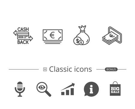 Money bag, Cashback and ATM line icons. Credit card, Currency and Coins signs. Banking, Euro and Dollar symbols. Information speech bubble sign. And more signs. Editable stroke. Vector