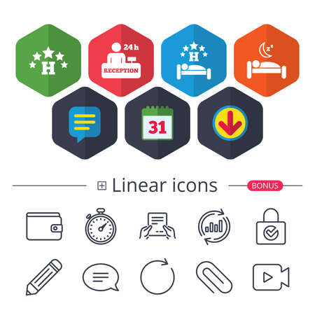Calendar, Speech bubble and Download signs. Five stars hotel icons. Travel rest place symbols. Human sleep in bed sign. Hotel 24 hours registration or reception. Chat, Report graph line icons. Vector 向量圖像