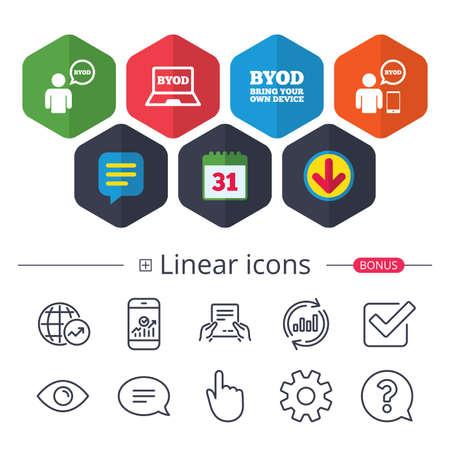 Calendario, burbujas de discurso y signos de descarga. Iconos de BYOD. Humano con signos de notebook y smartphone. Símbolo de burbuja de discurso Chat, iconos de línea de gráfico de informe. Signos más lineales Trazo editable Vector