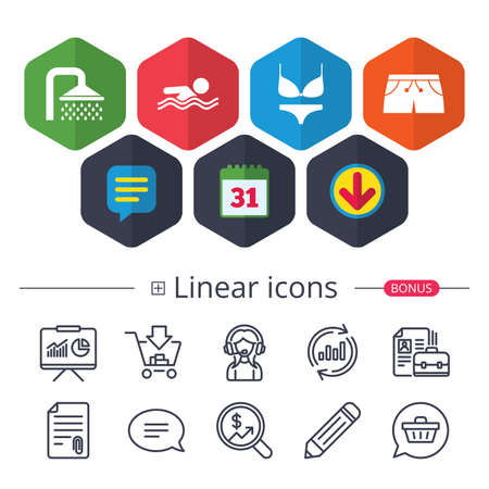 Calendar, Speech bubble and Download signs. Swimming pool icons. Shower water drops and swimwear symbols. Human swims in sea waves sign. Trunks and women underwear. Chat, Report graph line icons Illustration