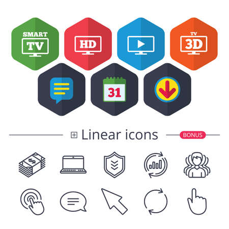 Calendar, Speech bubble and Download signs. Smart TV mode icon. Widescreen symbol. High-definition resolution. 3D Television sign. Chat, Report graph line icons. More linear signs. Editable stroke