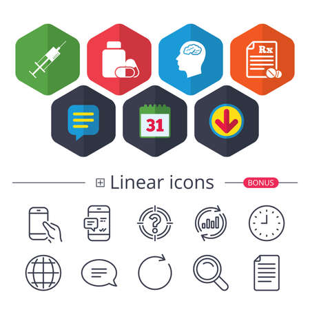 Calendar, Speech bubble and Download signs. Medicine icons. Medical tablets bottle, head with brain, prescription Rx and syringe signs. Pharmacy or medicine symbol. Chat, Report graph line icons