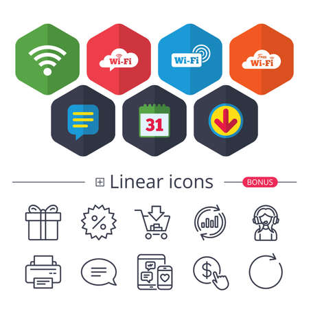 Calendar, Speech bubble and Download signs. Free Wifi Wireless Network cloud speech bubble icons. Wi-fi zone sign symbols. Chat, Report graph line icons. More linear signs. Editable stroke. Vector Illustration