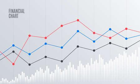 Abstracte financiële grafiek met lijngrafiek op beursmarkt. Statistieken uptrend. Analytics-gegevensrapport. Vector illustratie.