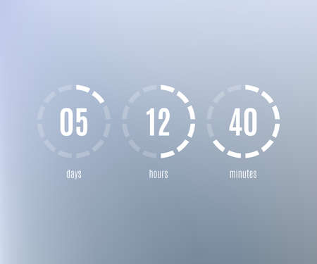 Countdown Web Site flat template. Digital Clock timer background. Coming soon or under construction design. Vector Illustration.