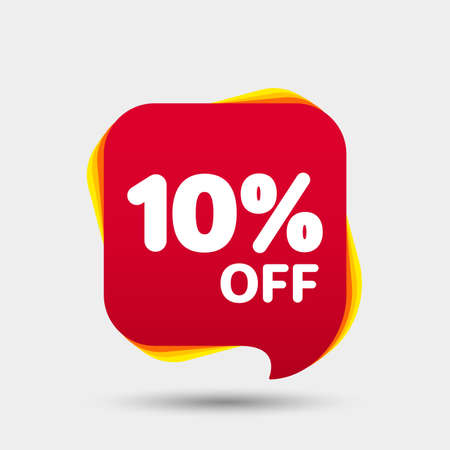 10 Percent Off Sale Discount Banner. Price tag. Special offer sale red label. Modern Sticker. Vector Illustration.