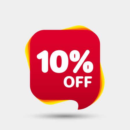 Banner sconto sconto del 10%. Cartellino del prezzo. Offerta speciale vendita etichetta rossa. Adesivo moderno. Illustrazione vettoriale