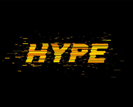 Hype text with Glitch effect. Flat background with particles. Letters concept. Following Internet trend. Vector illustration