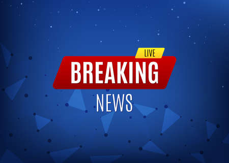 Breaking News Live Banner on Glowing Background. Business or Social channel news information. Vector Illustration.