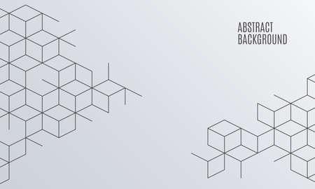 Fundo de caixas abstratas de vetor. Ilustração moderna com malha quadrada. Célula cubo. Abstração geométrica digital com linhas. Ilustração vetorial. Ilustración de vector