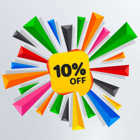 10 Percent Off Sale Discount Banner. Price tag. Special offer sale yellow label. Modern Sticker. Colored triangles. Vector Illustration.
