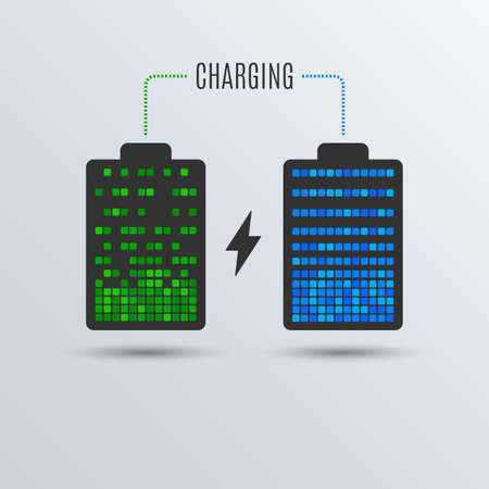 Cell phone or smartphone electric charge. Battery energy. Recharge accumulator symbol. Vector Illustration. Çizim
