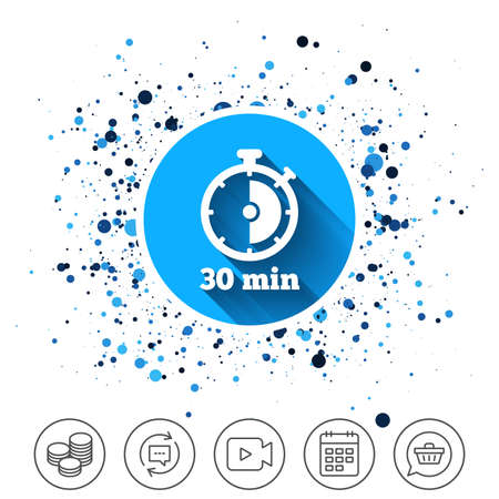 Button on circles background. Timer sign icon. 30 minutes stopwatch symbol. Calendar line icon. And more line signs. Random circles. Editable stroke. Vector Illustration