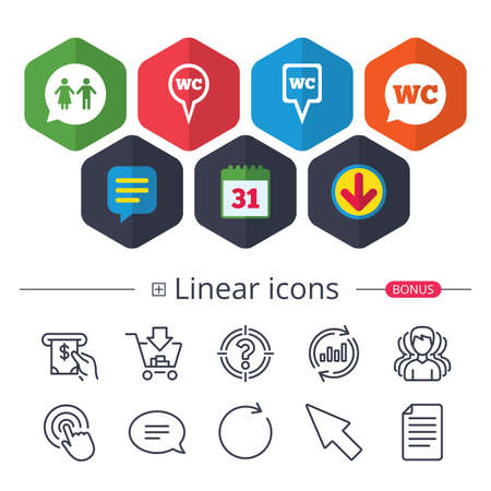 Calendar, Speech bubble and Download signs. WC Toilet pointer icons. Gents and ladies room signs. Man and woman speech bubble symbols. Chat, Report graph line icons. More linear signs. Editable stroke