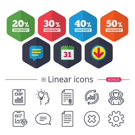 Calendar, Speech bubble and Download signs. Sale discount icons. Special offer price signs. 20, 30, 40 and 50 percent off reduction symbols. Chat, Report graph line icons. More linear signs. Vector