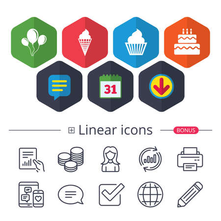 Calendar, Speech bubble and Download signs. Birthday party icons. Cake with ice cream signs. Air balloons with rope symbol. Chat, Report graph line icons. More linear signs. Editable stroke. Vector
