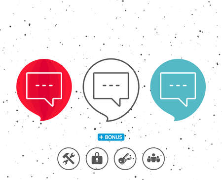 Speech bubbles with symbol. Chat line icon. Speech bubble sign. Communication or Comment symbol. Bonus with different classic signs. Random circles background. Vector