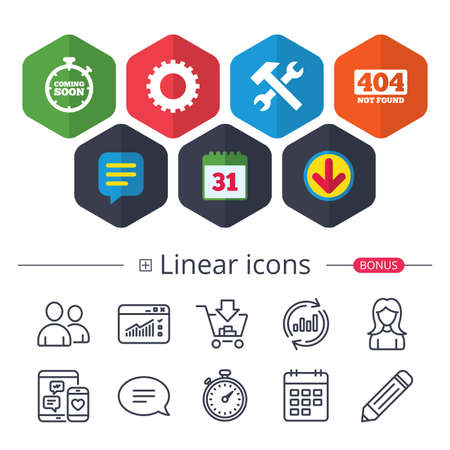 Calendar, Speech bubble and Download signs. Coming soon icon. Repair service tool and gear symbols. Hammer with wrench signs. 404 Not found. Chat, Report graph line icons. More linear signs. Vector
