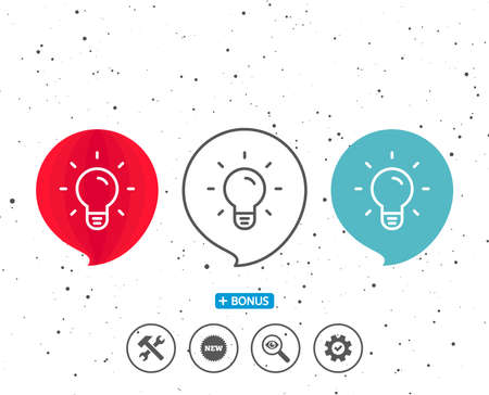 Speech bubbles with symbol. Light Bulb line icon. Lamp sign. Idea, Solution or Thinking symbol. Bonus with different classic signs. Random circles background.