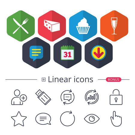 Calendar, Speech bubble and Download signs. Food icons. Muffin cupcake symbol. Fork and knife sign. Glass of champagne or wine. Slice of cheese. Chat, Report graph line icons. More linear signs Çizim