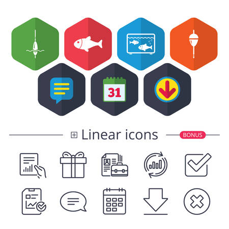 Calendar, Speech bubble and Download signs. Fishing icons. Fish with fishermen hook sign. Float bobber symbol. Aquarium icon. Chat, Report graph line icons. More linear signs. Editable stroke. Vector
