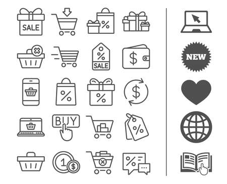 Shopping line icons. Gifts, Presents and Sale offer signs. Shopping cart, Delivery and Tags symbols. Speech bubble, Discount and Wallet. Online buying. Bonus classic signs. Editable stroke. Vector