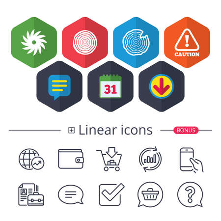 Calendar, Speech bubble and Download signs. Wood and saw circular wheel icons. Attention caution symbol. Sawmill or woodworking factory signs. Chat, Report graph line icons. More linear signs. Vector Zdjęcie Seryjne - 91104974